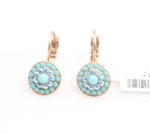 Bliss Collection Small Round Crystal Earrings in Rose Gold