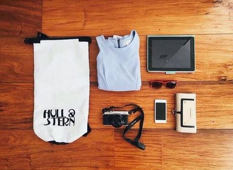 Hull & Stern Dry Bag in North Star White with Other Travel Essentials