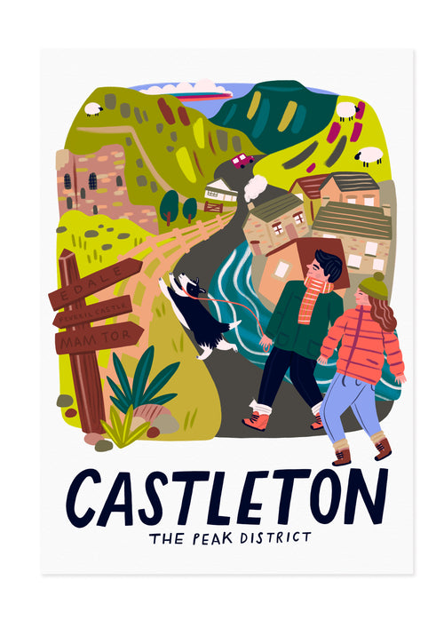Castleton - The Peak District Travel Poster Print