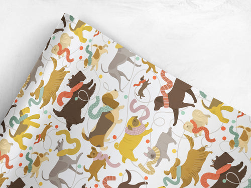 Christmas Dogs Gift wrap by Lauren Radley