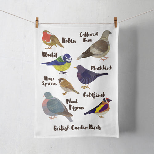 British Garden Birds Tea Towel by Lauren Radley