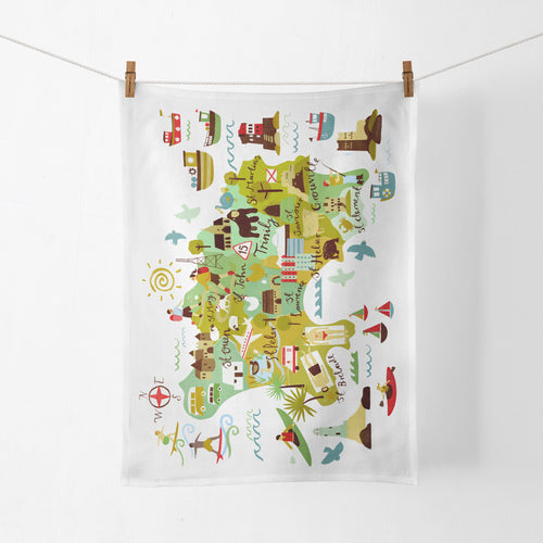 Jersey Map Tea Towel