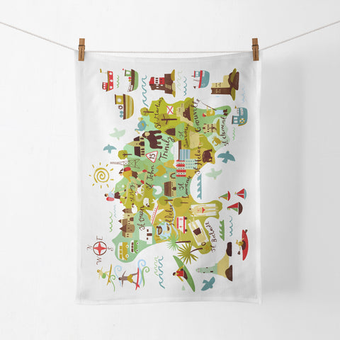 St John Map Tea Towel