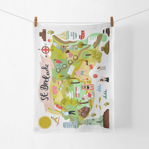 St Brelade Map Tea Towel