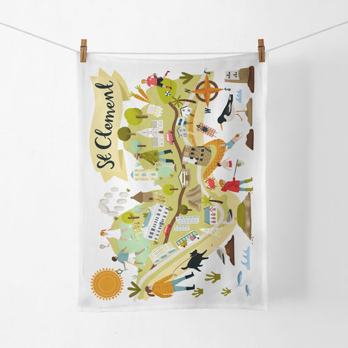 St Clement Map Tea Towel