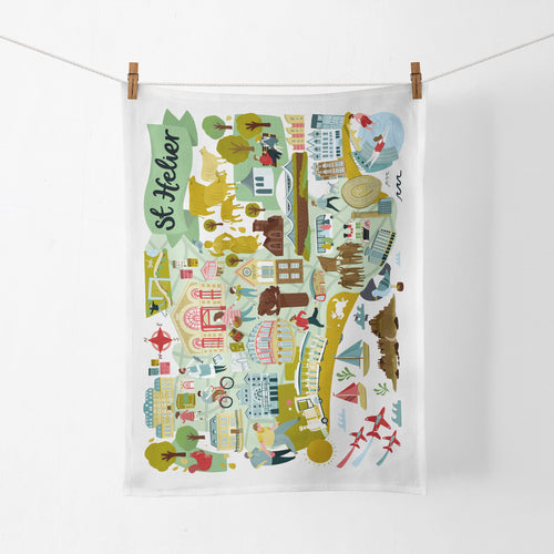 St Helier Map Tea Towel