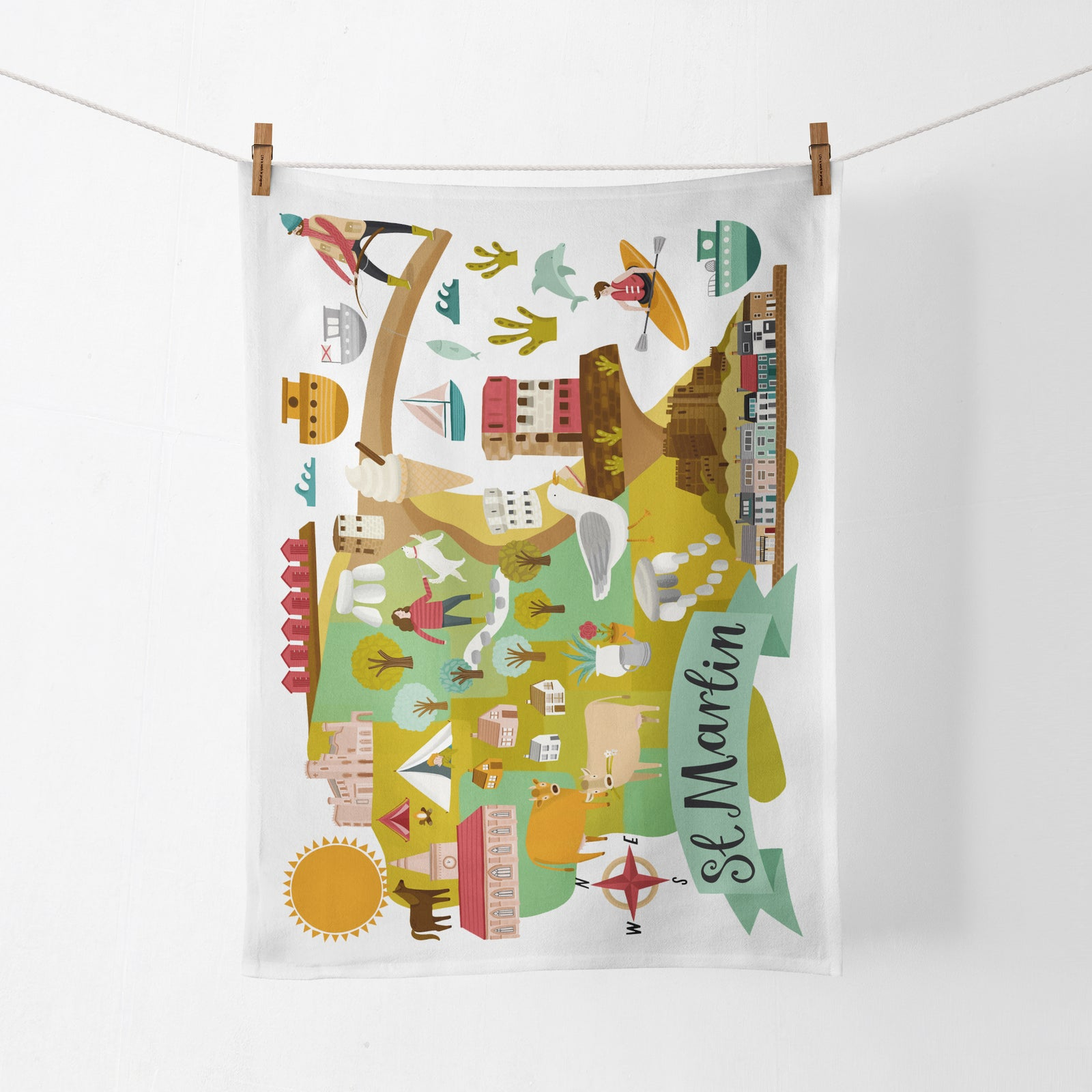 St Martin Map Tea Towel
