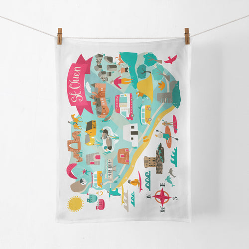 St Ouen Map Tea Towel