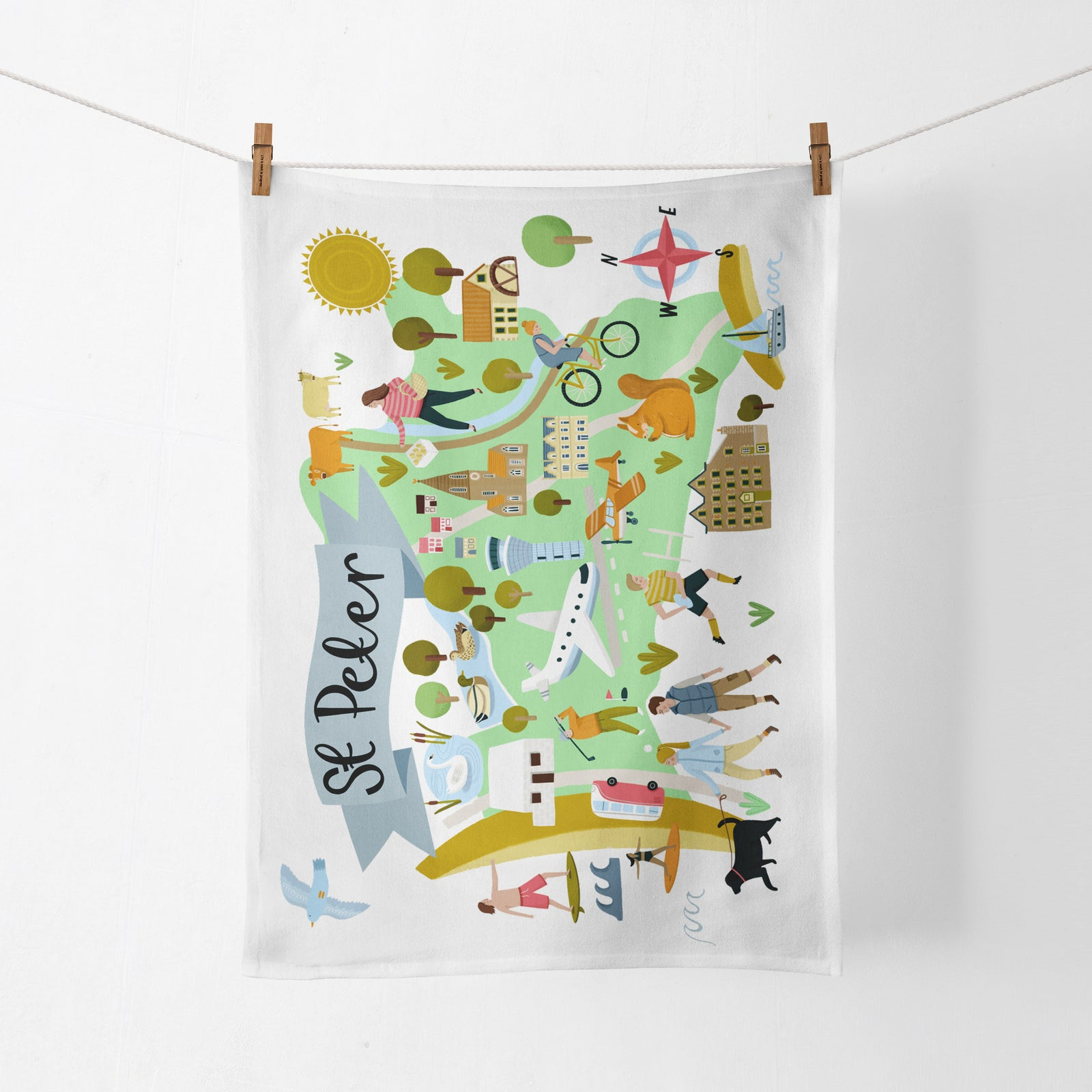 St Peter Map Tea Towel
