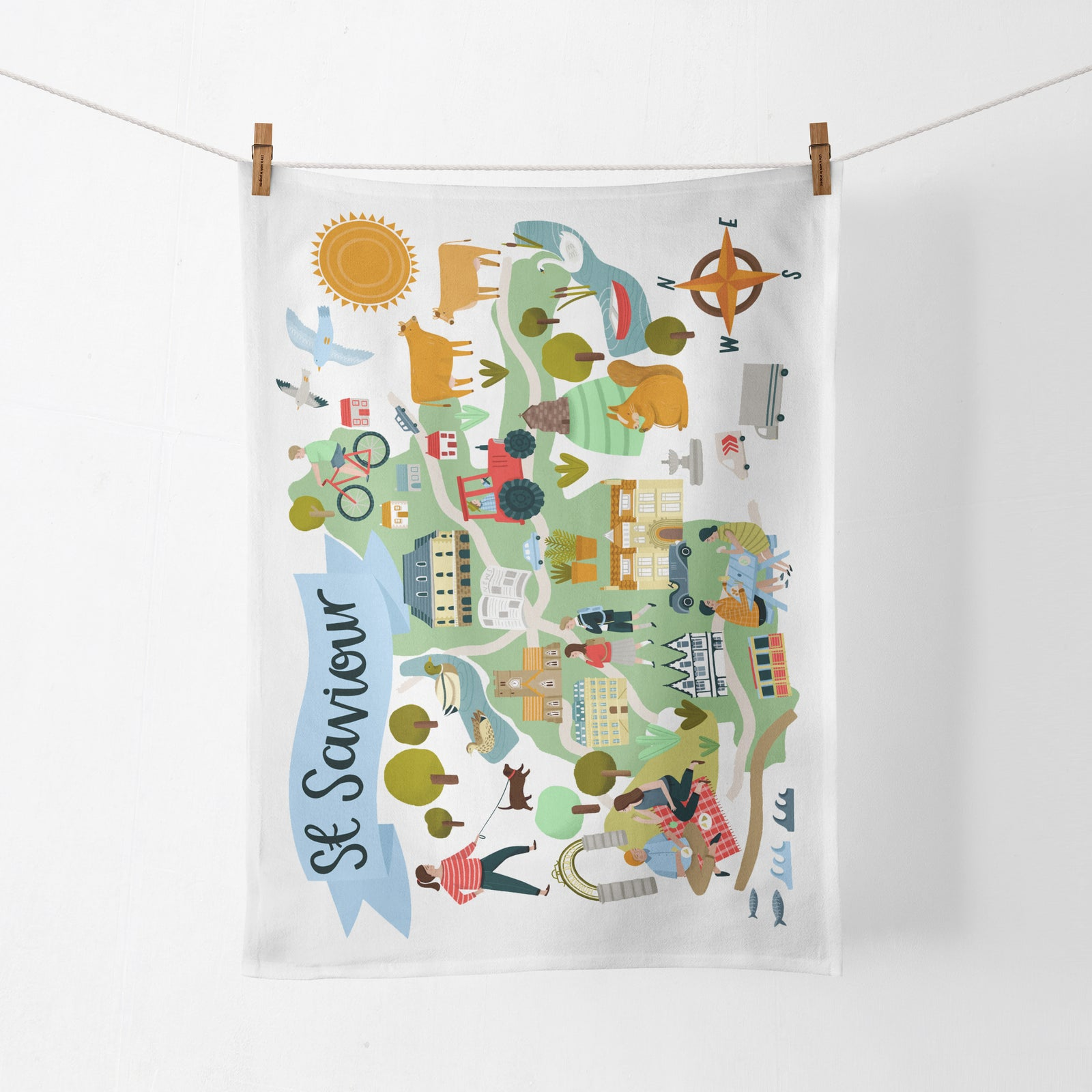 St Saviour Map Tea Towel