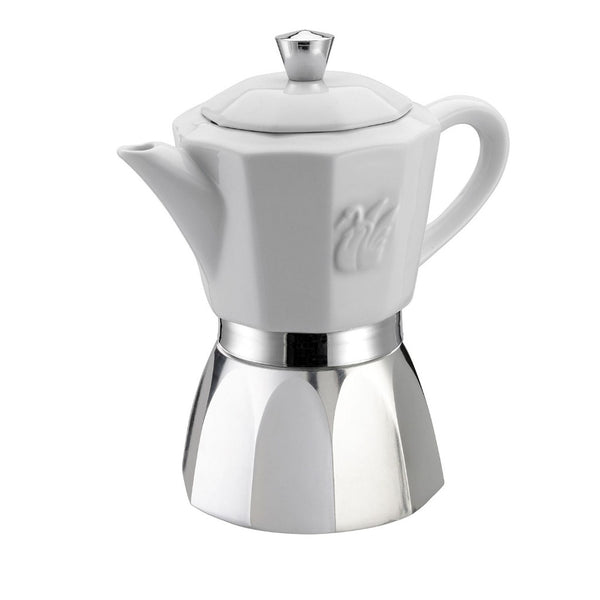 GAT Chic - Moka Stove Top Coffee Espresso Maker - Stainless Steel & Porcelain - Various Sizes