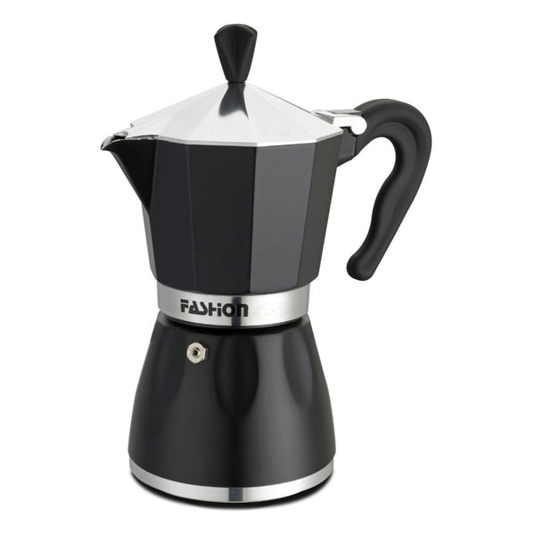 GAT Cafe Caffe Black Star - Moka Stove Top Coffee Espresso Maker - Aluminium - Black - Various Sizes