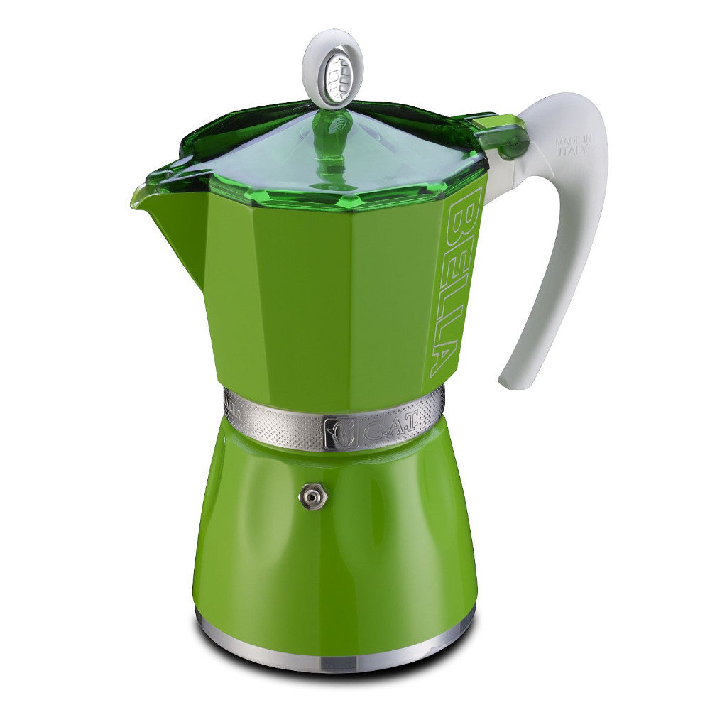 GAT Bella -  Italian Moka Stovetop Coffee Espresso Maker - Green - 3 Cups - Slightly Scratched or Minor Imperfections