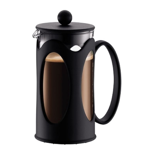 Bodum Kenya - Cafetiere - Borosilicate Glass & Stainless Steel - Black - 3 Cups - No Packaging