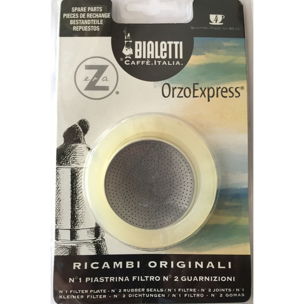 Bialetti Orzo - Spare Filter and 2 Rings for Orzo Express Coffee Maker - 4 Cup