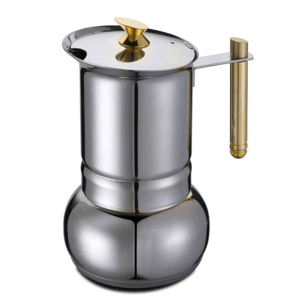 GAT Amore - Moka Stove Top Coffee Espresso Maker - Stainless Steel with Gold - Various Sizes
