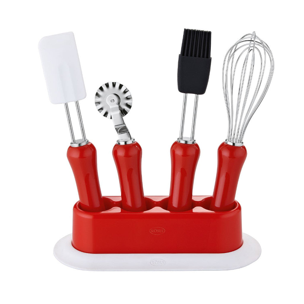 Rösle - Children's Baking Set - 5 Pieces Including Stand Dishwasher Safe - Red