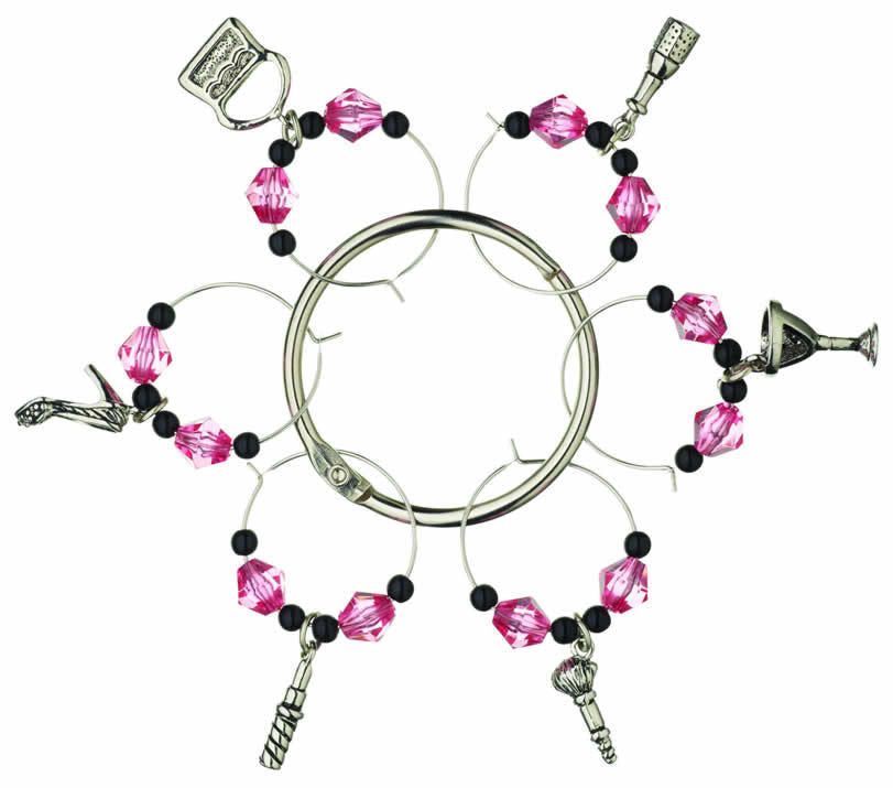 Kitchen Craft City Nights Decorative Wine Glass Charms & Central Ring - 6 Pack