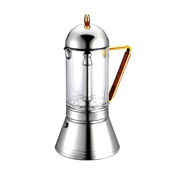 GAT Cafe Caffe Cristal Gold Italian Moka Stove Top Coffee Espresso Maker Steel - 4 Cups