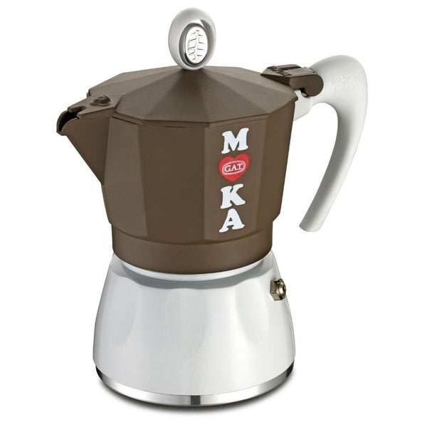 GAT Golosa - Moka Stove Top Coffee Espresso Maker - Aluminium - Chocolate & White - Various Sizes