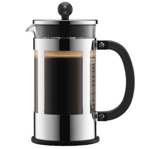Bodum Kenya - Cafetiere - Borosilicate Glass and Stainless Steel - Black - 8 Cups - No Packaging