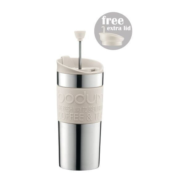 Bodum - Travel Mug - With French Press Lid - Stainless Steel  off white