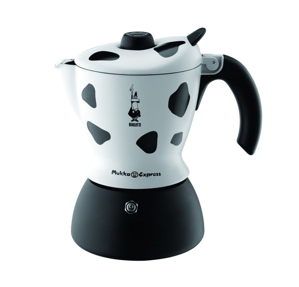 Bialetti Mukka Express - Stove Coffee Maker w/ Milk Frother - 2 Cup - Cow Print