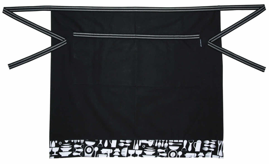 Kitchen Craft Metro Collection - Half Apron - Machine Washable - Cotton - Black