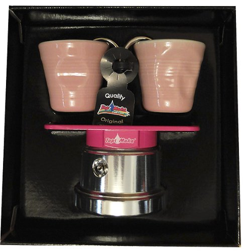 Top Moka - Mini Stovetop Coffee Maker with 2 Shot Glasses - 2 Cup - Pink/Silver