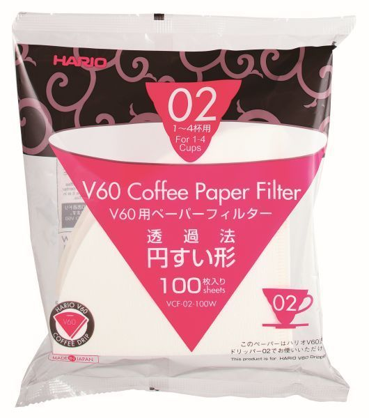 Hario V60 Filter Paper for 1-4 Cup Coffee Dripper - Pure Flavour - White 100 Pk