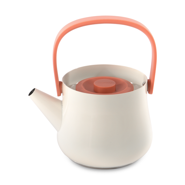 BergHoff Ron - Teapot/Kettle with Strainer - Stainless Steel - 1l - White/Orange