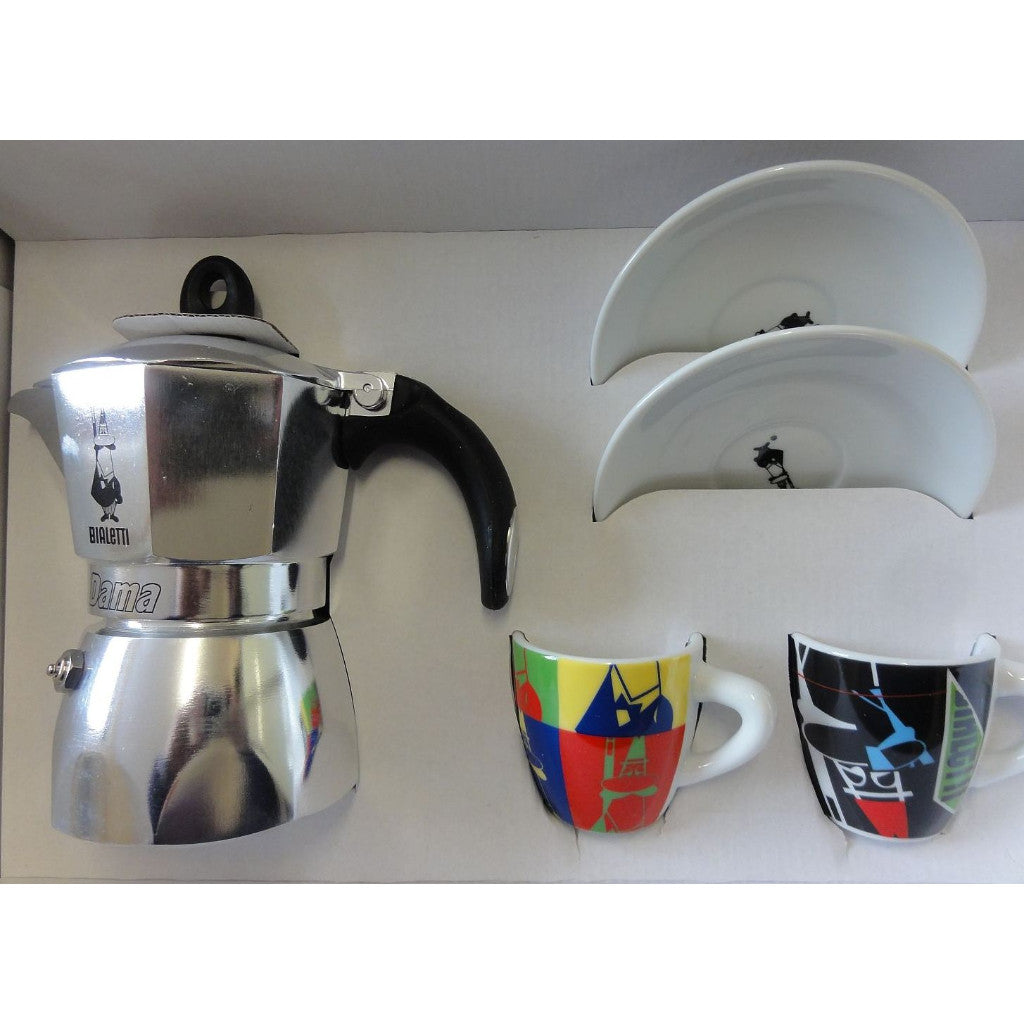 Bialetti Dama Arte - Coffee Maker with 2 Cups & Saucers - 3 Cup - Italian Import