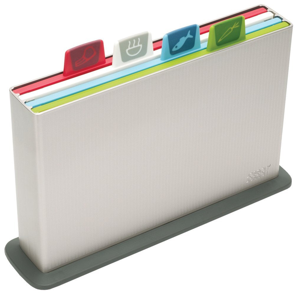 Joseph Joseph Index - Chopping Board Set of 4 Colour-Coded Boards - Silver Case
