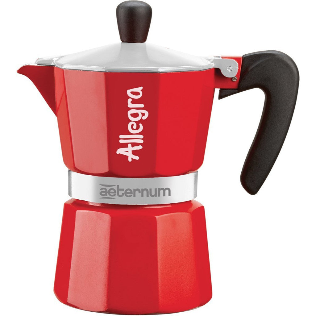 Aeternum Allegra - Stovetop Coffee Maker - Cast Aluminium - 1 Cup - Red
