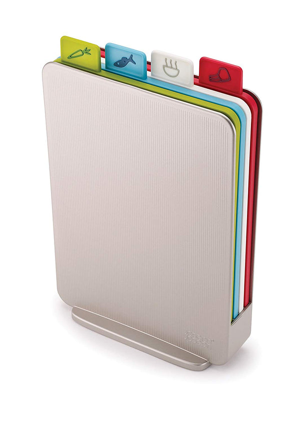 Joseph Joseph Index - Compact Chopping Board Set with Storage Case - Silver