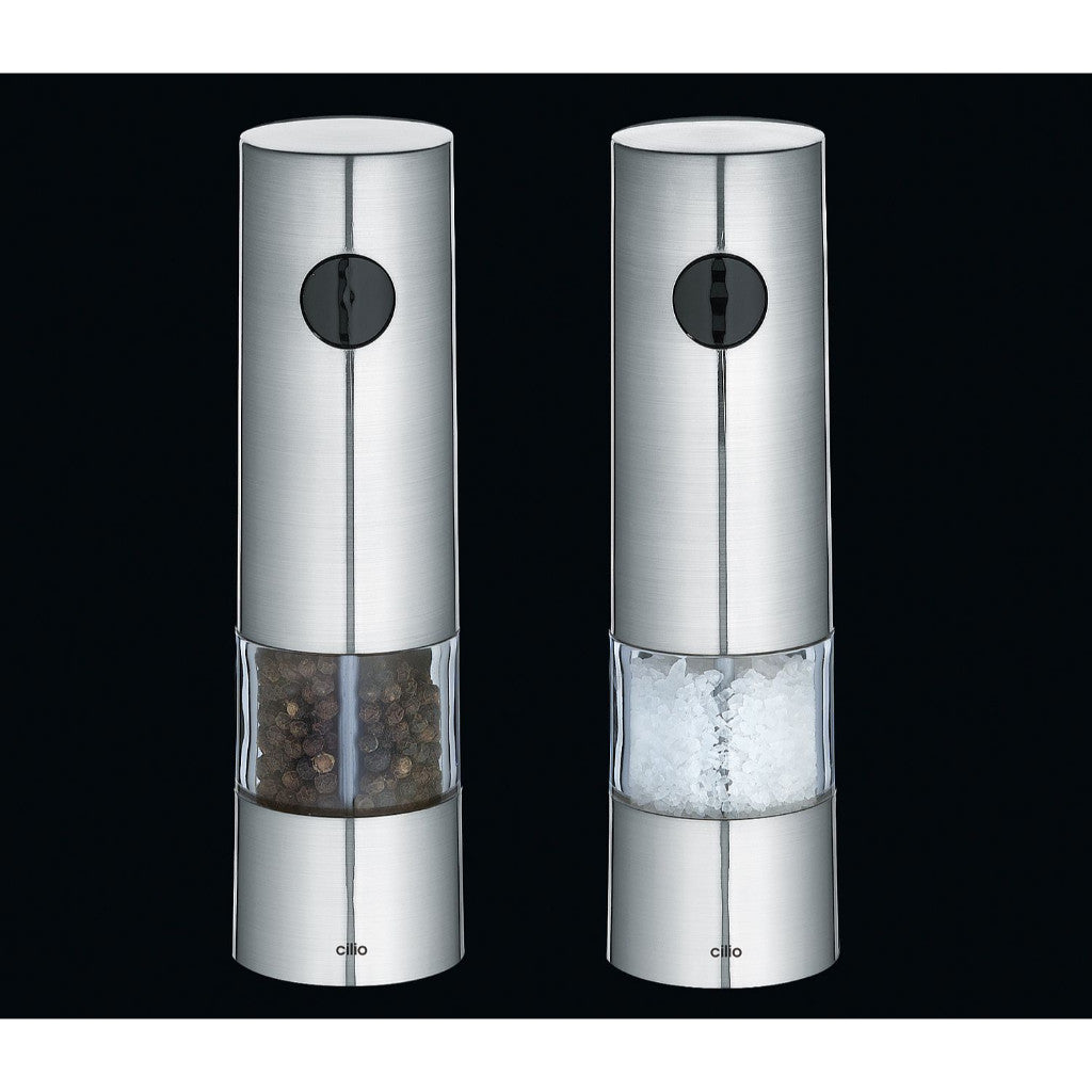 Cilio Monza Electric Salt & Pepper Mill Twin Set - Base LED Light - 20cm