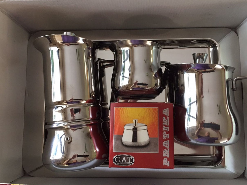 GAT Pritika - Stainless Steel Moka Stove Top Coffee Espresso Maker Set - 5 pieces - 6 cup