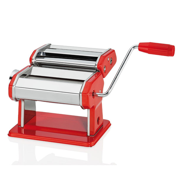 Küchenprofi Compack Pasta Machine with 3 Rollers - Stainless Steel - Red - 20cm
