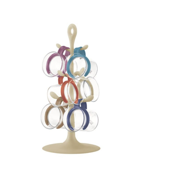 Bodum Bistro Nouveau - Mug Tree Set with 6 Glass Mugs - Multi-coloured Bands - No Packaging