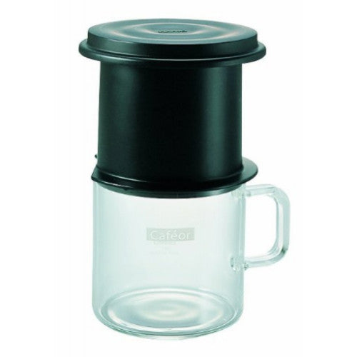 Hario Cafeor Combi Coffee Cup & Paperless Coffee Filter Dripper - Black 200ml