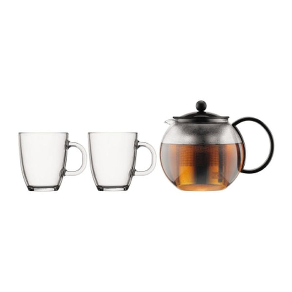Bodum Assam - Tea Pot Press - With 2 Bistro Glass Mugs Dishwasher Safe - Glass