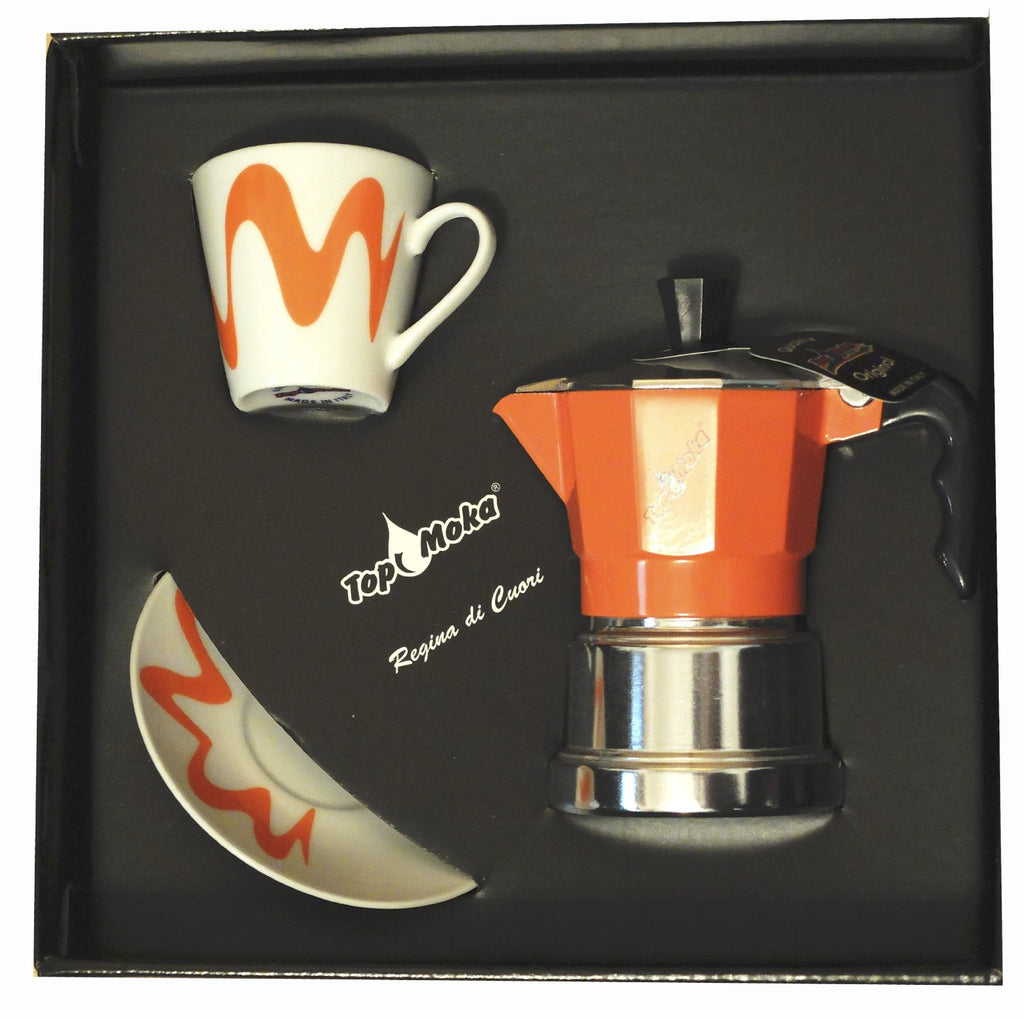 Top Moka - Stove Espresso Coffee with Cup & Saucer - Aluminium - Various Colours