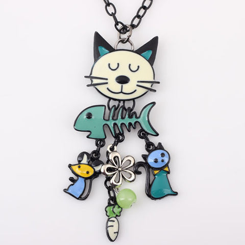 Colorful French-style Cat Necklace - PawMerch
