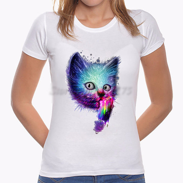 Fashionable Artsy Kitty T-shirt - PawMerch