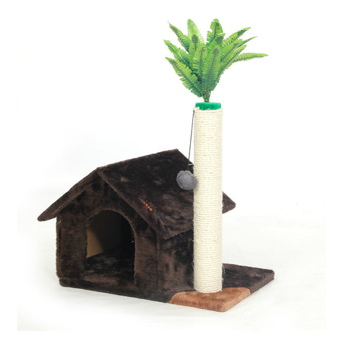 Beautiful Deluxe Scratching Wood Cat House - PawMerch