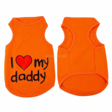"Cute Summer "" I Love my daddy "" T Shirt-Vest (Orange only) - PawMerch"