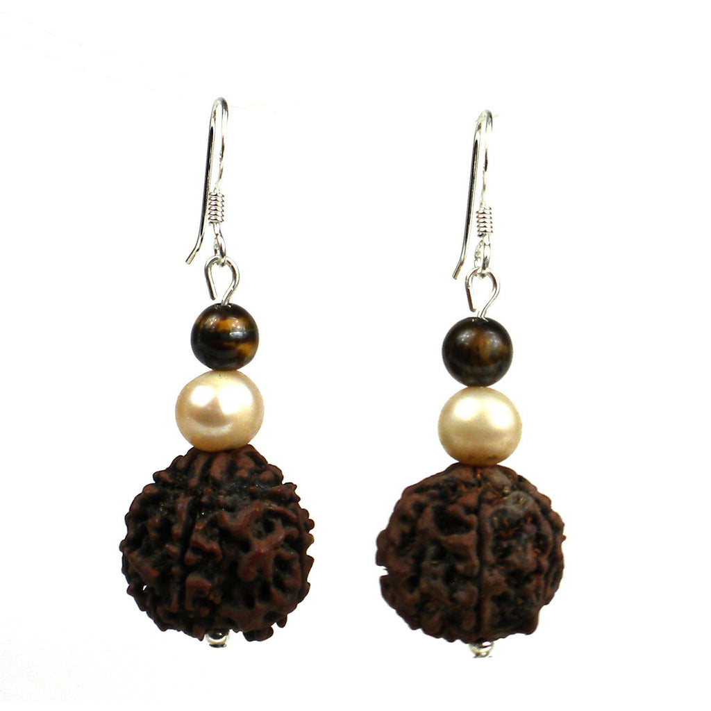 Rudraksha & Pearl Earrings Half Inch Long Global Groove