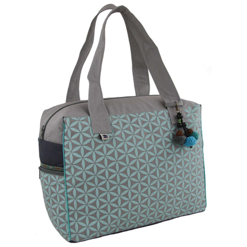 Flower of Life Retreat Bag Grey/Turquoise - Global Groove