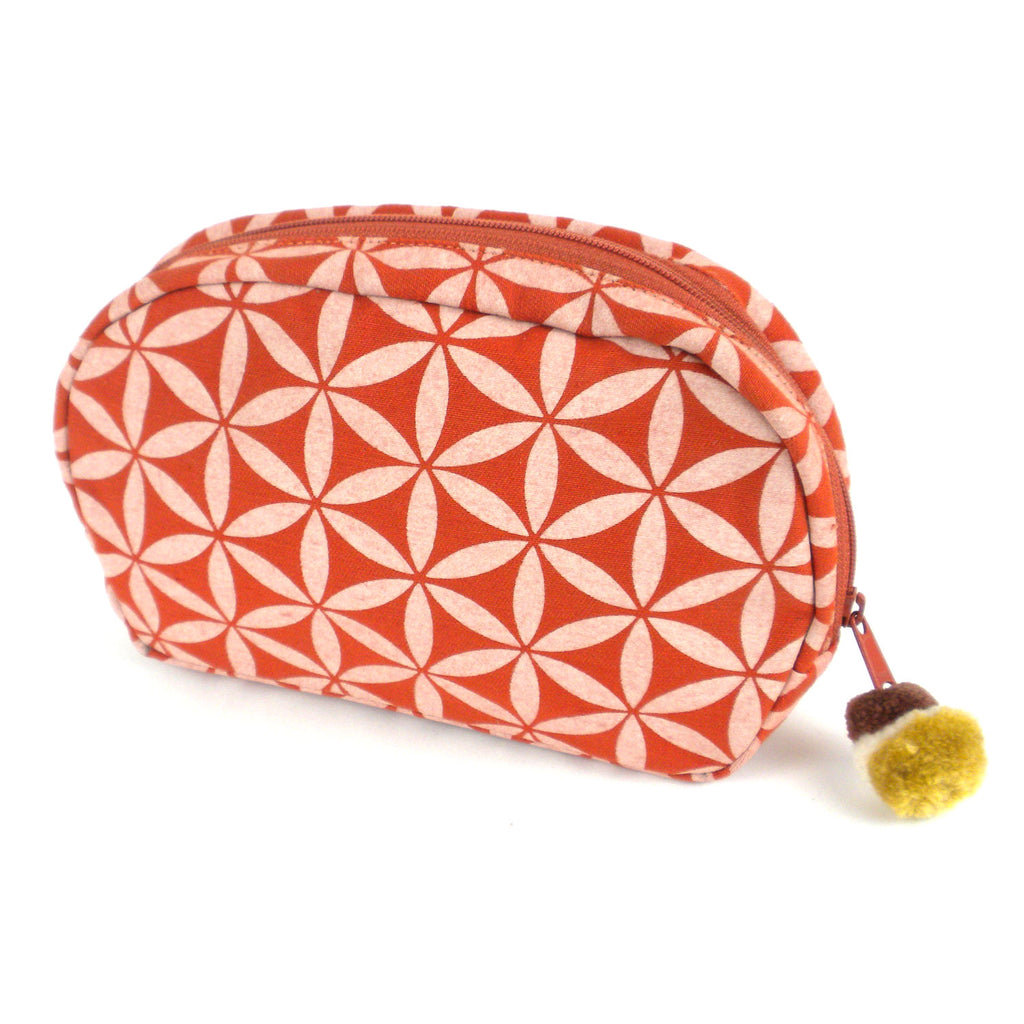 Flower of Life Makeup Bag Terra Cotta/Cream/Small - Global Groove