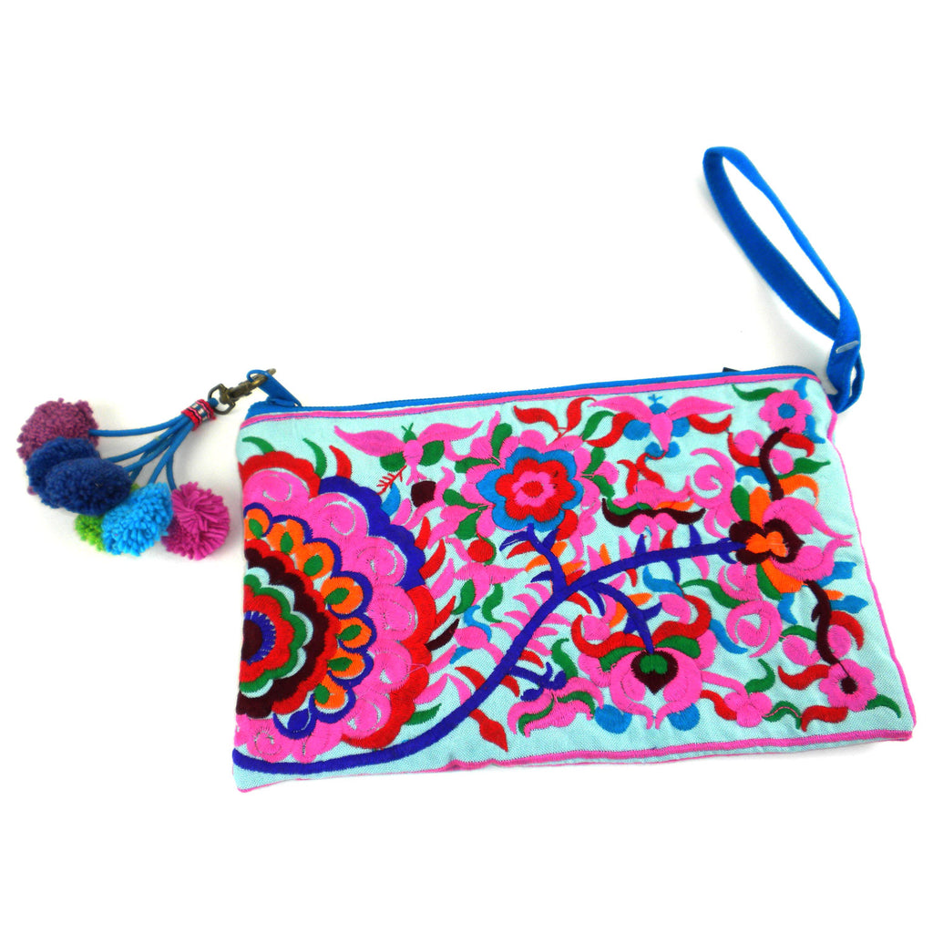Double Sided Grab n Go Pom Pom Clutch Turquoise Global Groove